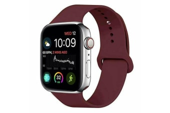 Apple Watch iWatch Series 1 2 3 4 5 Silicone Replacement Strap Band 38mm/40mm S/M size-Wine Red