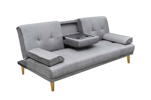Convertible 3 Seater Linen Sofa with Cup Holder (Grey)