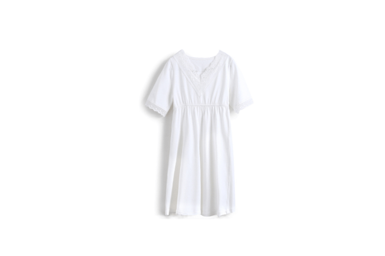 Girl'S Nightgowns V-Collar Sleepwear Cotton Princess Nightdress - White White 170