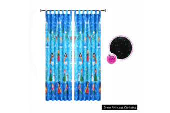 Pair of Glow in the Dark Snow Princess Tab Top Curtains by Happy Kids