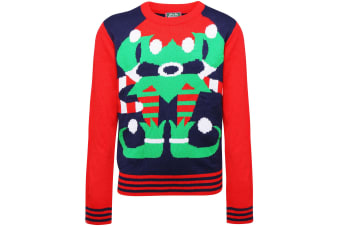 Christmas Shop Childrens/Kids Elf Jumper (Blue/Red) (2-3 Years)