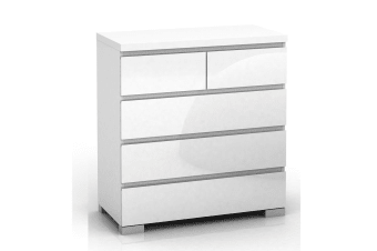 High Gloss Tallboy Dresser 5 Chest of Drawers Table Cabinet Bedroom White
