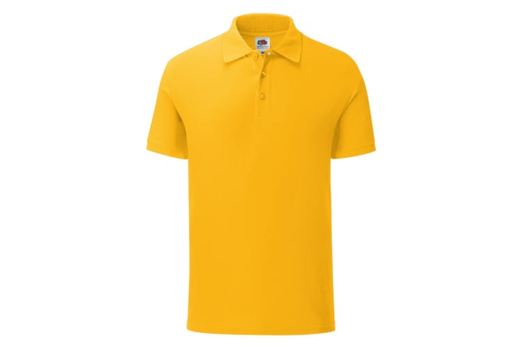 Fruit Of The Loom Mens Iconic Pique Polo Shirt (Sunflower Yellow) (L)