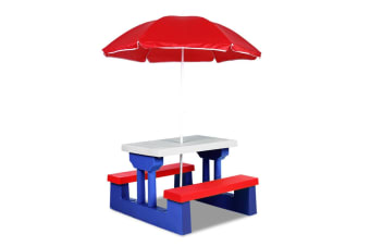 Keezi Kids Picnic Table Bench Set Umbrella Children Craft Activity Outdoor Chair White