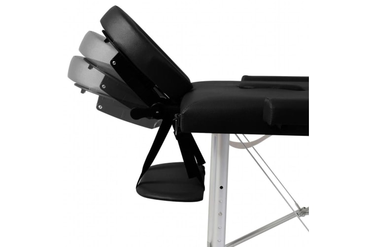 vidaXL Black Foldable Massage Table 2 Zones with Aluminium Frame
