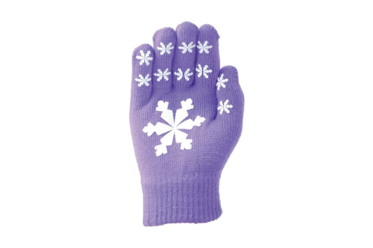 Hy5 Adults Magic Patterned Gloves (Purple Snowflakes) (One Size)