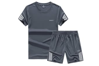 Men'S Casual Tracksuit T-Shirts And Shorts Running Jogging Sportsuit Set Grey 3Xl