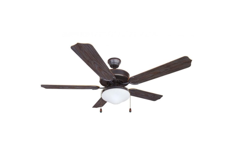 Heller Flynn Brown 5 Blade Reversible Ceiling Fan Air Cooling w/ Light /1300mm