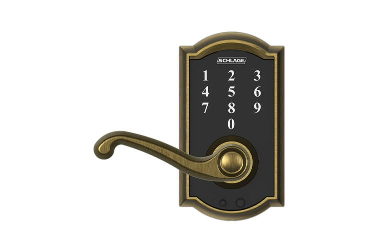 Schlage Touch Keyless Touchscreen Lever with Camelot Trim and Flair Lever (Antique Brass)