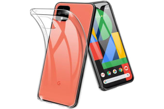 Google Pixel 4 Ultra Slim Premium Crystal Clear TPU Gel Back Case by MEZON – Shock Absorption, Wireless Charging Compatible – With Screen Protector (Pixel 4, Gel)