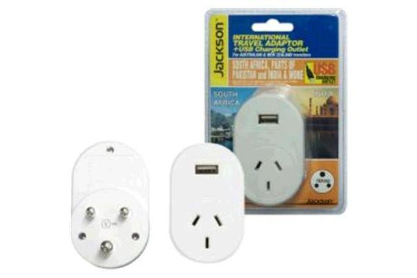 JACKSON Outbound Travel Adaptor 1x USB Charging Port. Convert NZ/Aust Plugs for use in South Africa