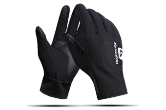 Outdoor Men And Women'S Skiing Warm Touch Screen Riding Thickened Gloves - Black Black S