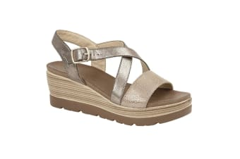 Cipriata Womens/Ladies Clarice Crossover Buckle Wedge Casual Shoes (Pewter)