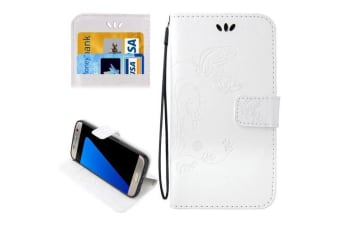 For Samsung Galaxy S7 EDGE Wallet Case  Butterfly Horse Leather Cover White
