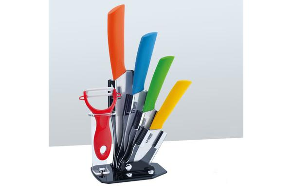 5Pcs Ceramic Knife + Peeler Set W/ Knive Stand Nano Zirconia Anti Bacterial Colour