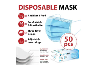 50Pcs Disposable Face Mask Protective Masks 3 layer Meltblown Filter for General Purpose