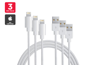 3 Mixed Pack Apple MFI Certified Lightning to USB Cable (1m, 2m, 3m)