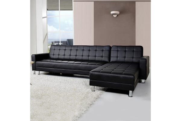 5 Seater Pu Faux Leather Corner Sofa Bed Couch With Chaise Kogan Com