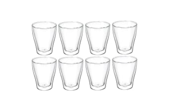 8pc Avanti Modena Twin Wall Glass 250ml Coffee Tea Thermal Glasses Expresso Cups