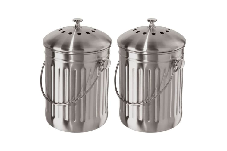 2PK Oggi 3.8L Stainless Steel Kitchen Compost Food Waste Rubbish Trash Bin Pail