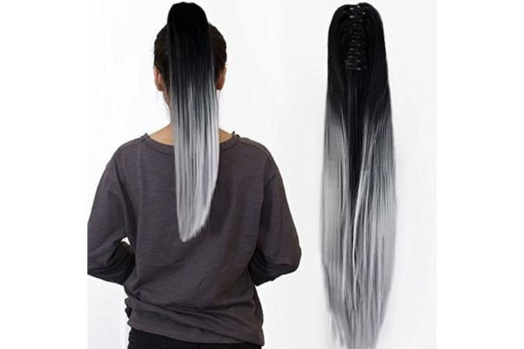 """Two Tone Ombre High Grade Silver Gray Straight Clip On Pony Tail 24"""" Hair Clamp"""