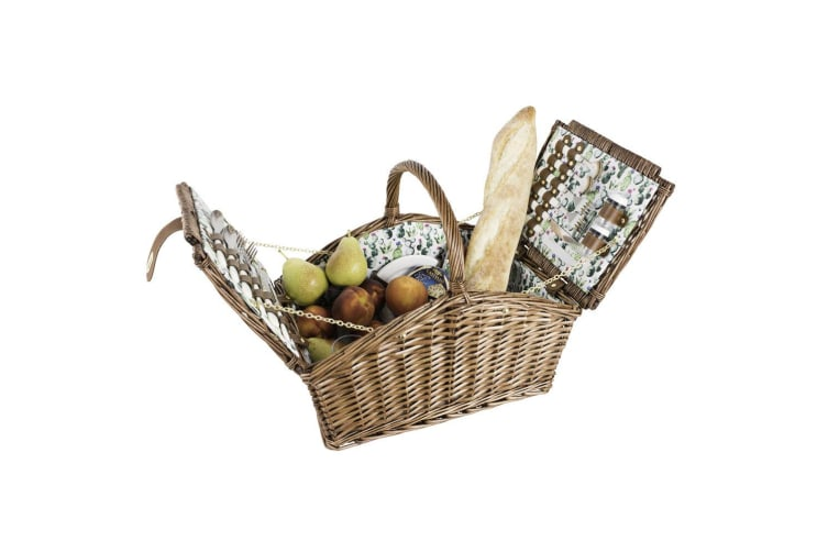 Avanti 4 Person Willow Handle Cactus Picnic Travel Basket w Cutlery Shaker Plate