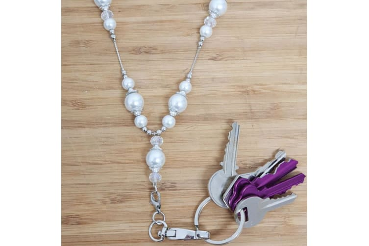 Coach Lanyard Key holder Necklace - Pearl