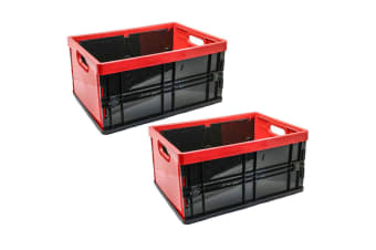 2PK Box Sweden 45L 53.5cm Rectangle Collapsible/Foldable Crate Storage Large Red