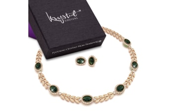 Georgina Necklace and Earrings Set Emerald Embellished with Swarovski crystals