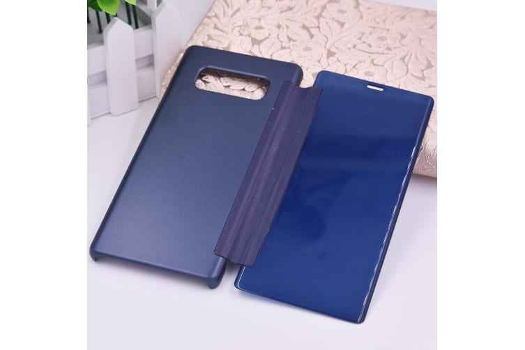 For Samsung Galaxy Note 8 Case Smart Frosted Leather Protective Cover Dark Blue