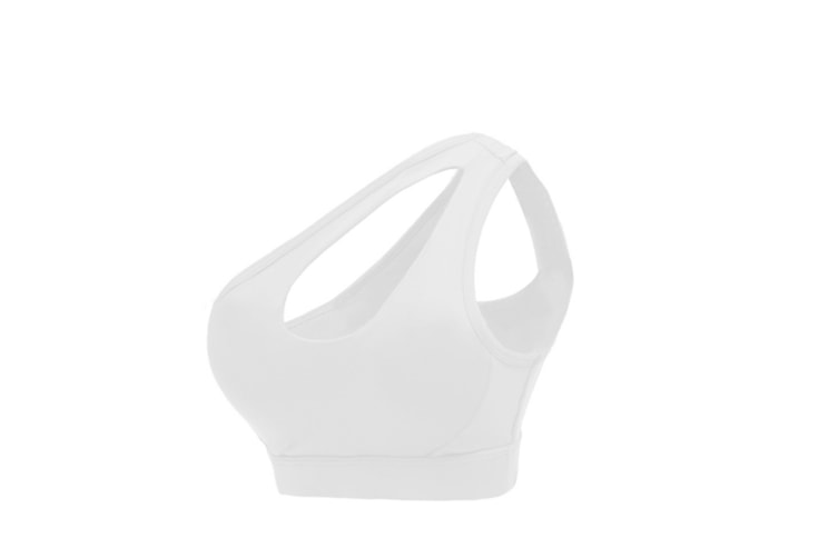 Women One Shoulder Cut Out Strap Sports Bras Integrated With Workout Style Yoga Bra White L