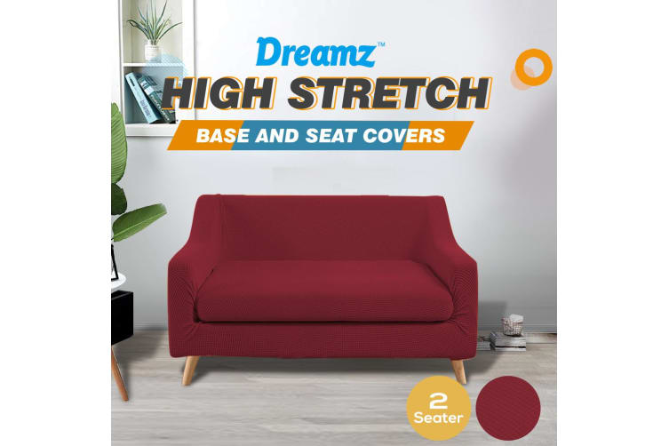 Dreamz Couch Sofa Seat Covers Stretch Protectors Slipcovers 2 Seater Wine