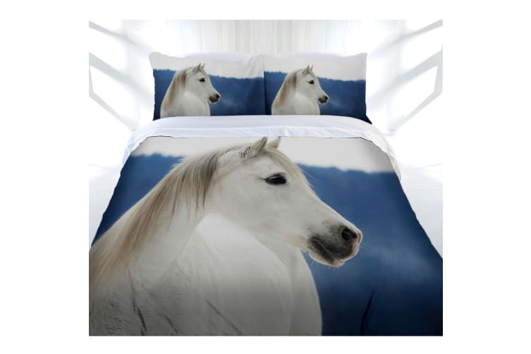 Just Home Snowy Horse Quilt Cover Set Queen