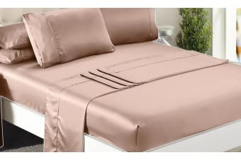 1000TC Silk Satin Single/KS/Double/Queen/King Fitted Flat Pillowcase Sheet Set  -  ChampagneQueen