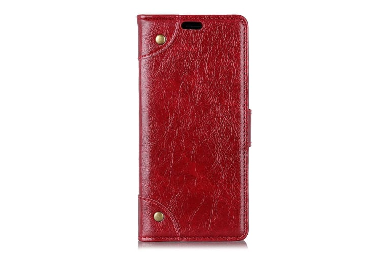 For Samsung Galaxy S10e Case Red Nappa Texture PU Leather Wallet Cover