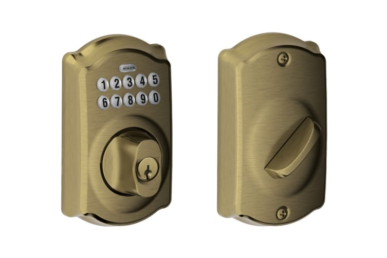Schlage Keypad Deadbolt with Camelot Trim (Antique Brass)