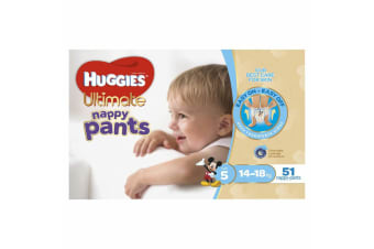 51PK Huggies Ultimate Nappy Pants Boys Size 5 14-18kg Nappy Pants