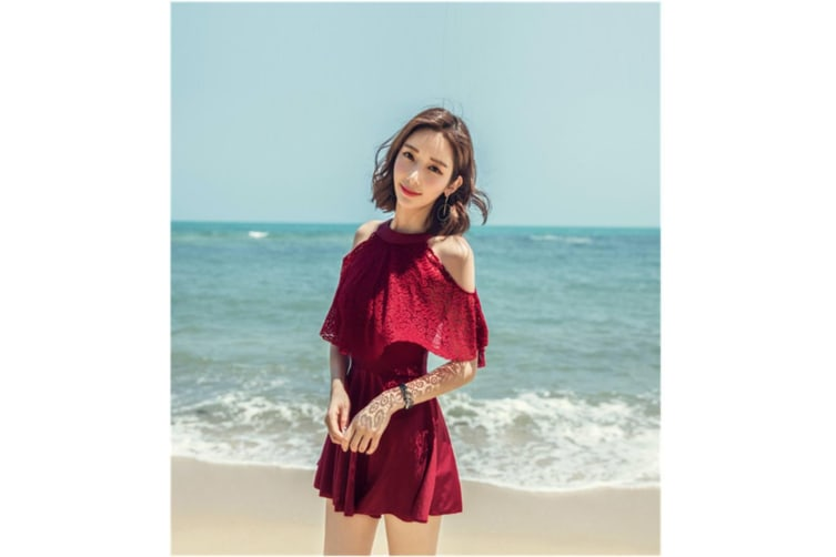 Women'S Sexy One Piece Skirt Swimsuit Ruched Retro Swimdress Suits Wine Red M