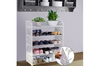 5 Tier White Chic Hollow Out Shoe Rack 60cm Wide