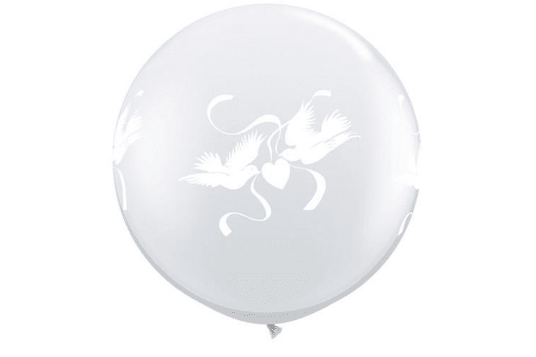 Qualatex 3 Foot Clear Love Doves Latex Balloon (Pack Of 2) (Clear) (One Size)