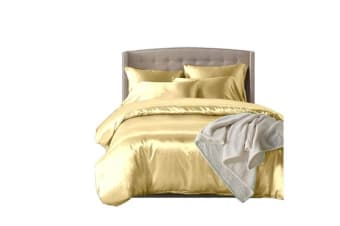 Dreamz Satin Duvet Cover Pillowcases Set IVORY - Double