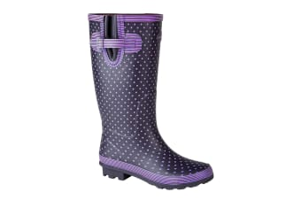 Stormwells Womens/Ladies Polka Dot Wellington Boots (Mauve Polka Dot/Navy)