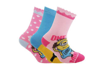Despicable Me Official Childrens/Kids Minions Ankle Socks (Pack Of 3) (Pink)