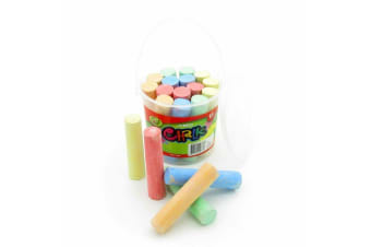 30 x Jumbo Chalk Classic Craft Kids Jumbo Art Chalk With Bucket