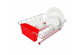New D.line Large Dish Drainer Dishrack Organiser w/ Cutlery Caddy Holder Red