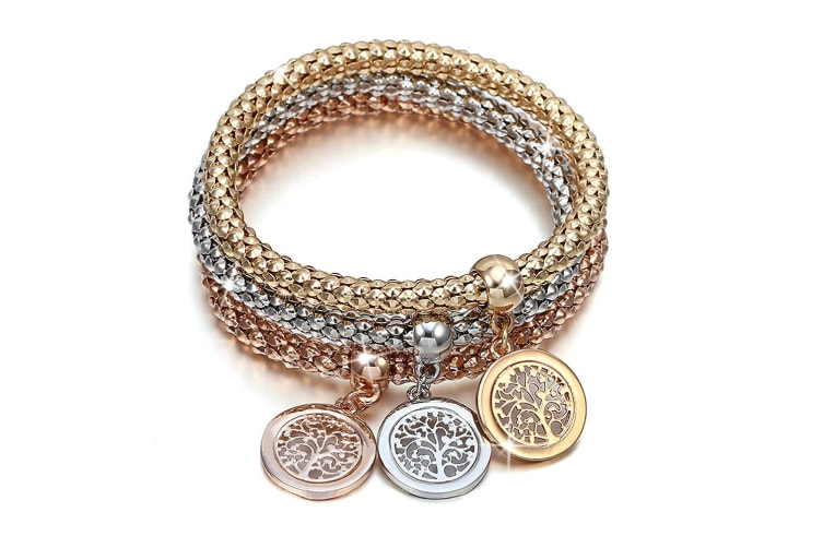 Boxed 3Pc Tree Of Life Charm Bracelet Set