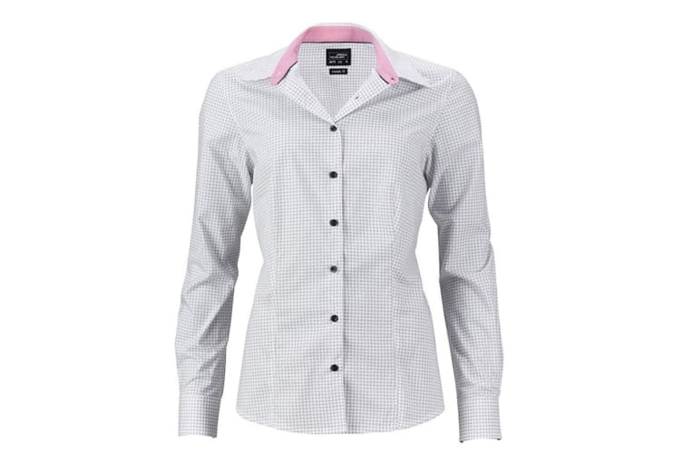James and Nicholson Womens/Ladies Dots Shirt (White/Titanium Grey) (S)