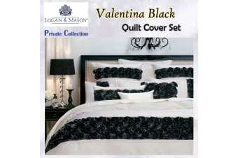 Valentina Black Quilt Cover Set QUEEN by Private Collection