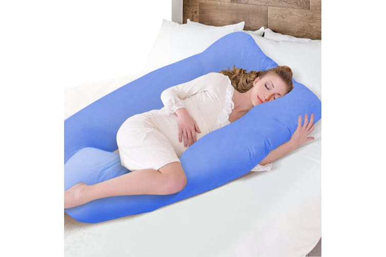 Maternity Pregnancy Nursing Sleeping Body Pillow Support Feeding Cover Sky Blue