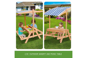 Kids Sandpit & Picnic Wooden Table Set Megaplay With Canopy